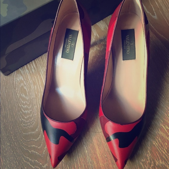 16eb76bc49f52 Valentino Shoes | Rockstud Heels Red Camo 377 Worn 1x | Poshmark